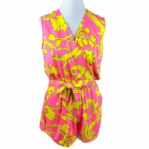 JB by Julie Brown Floral Romper Pink Yellow Medium